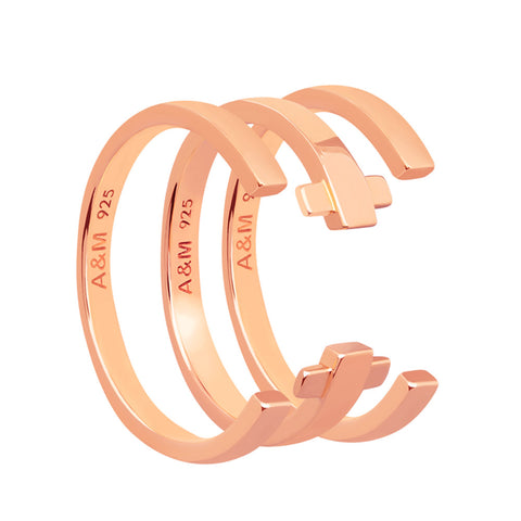 Rose gold crossing lines ring stack
