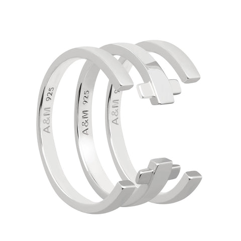 Silver crossing lines ring stack
