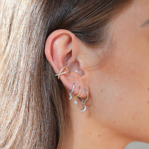 Crossover Crystal Ear Cuff in Gold worn with mystic earrings
