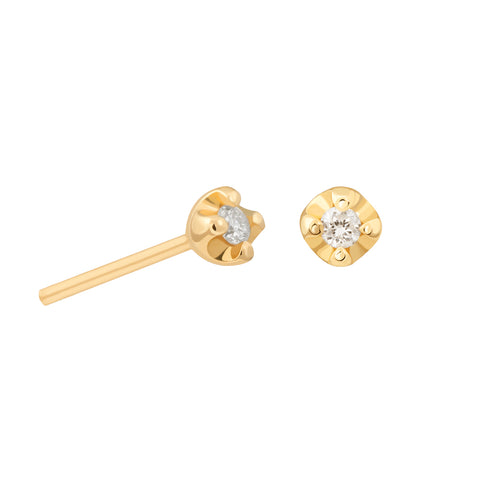 Basic Diamond Stud Earring 2.0 in Gold