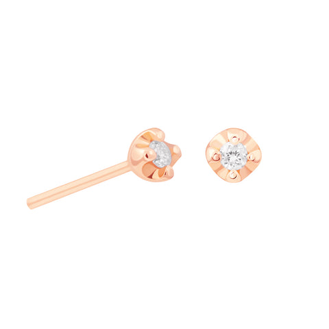 Basic Diamond Stud Earring 2.0 in Rose Gold