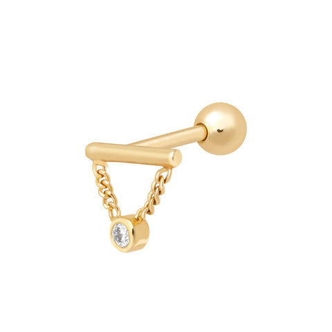 Diamond Chain Barbell in Gold
