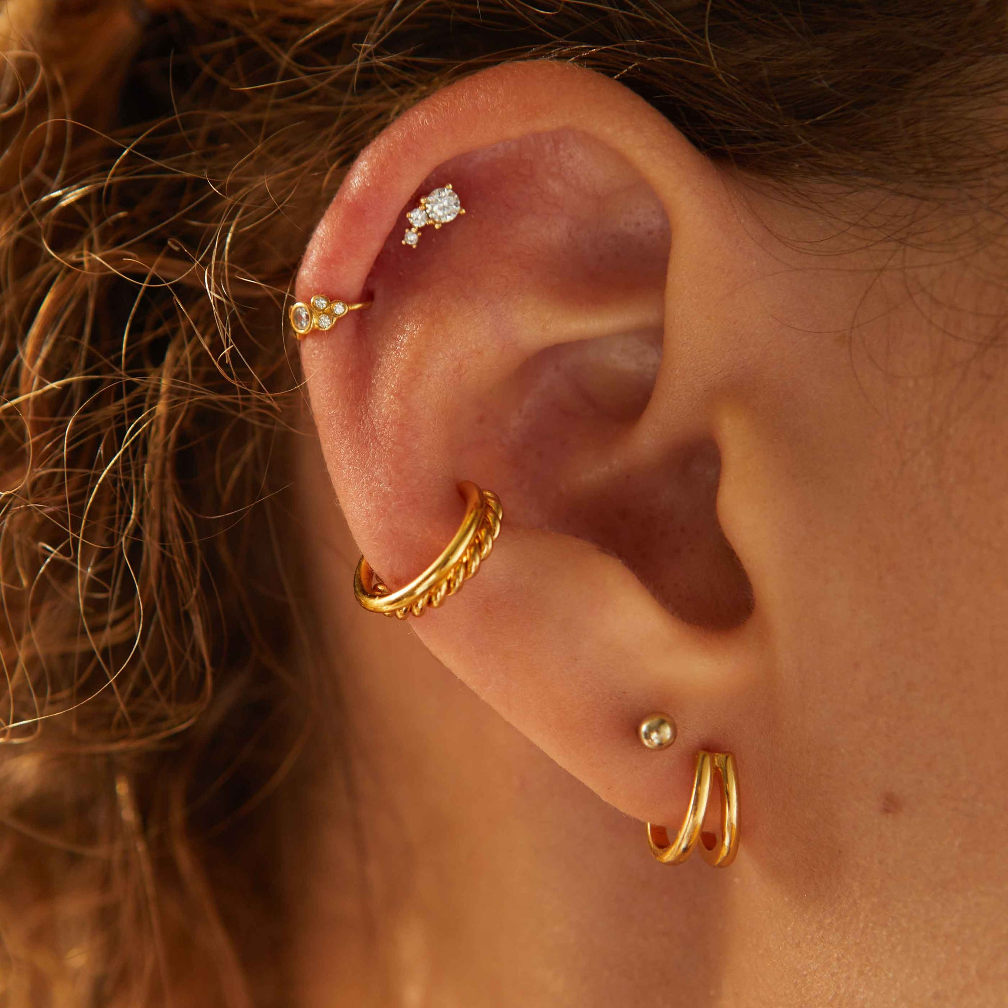 Double Bar Stud Earrings in Gold worn