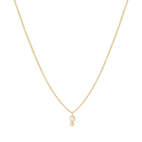 Double Diamond Necklace in Gold