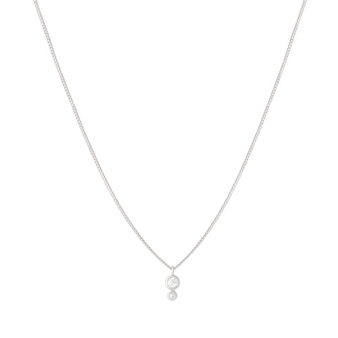 Double Diamond Necklace in Silver