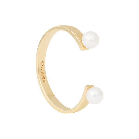 Pearl Open Ring in Gold