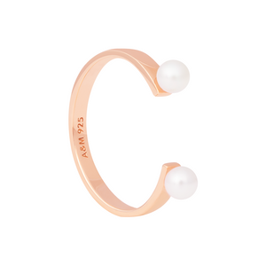 Pearl Open Ring in Rose Gold