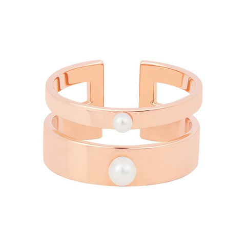Pearl Double Band Ring in Rose Gold