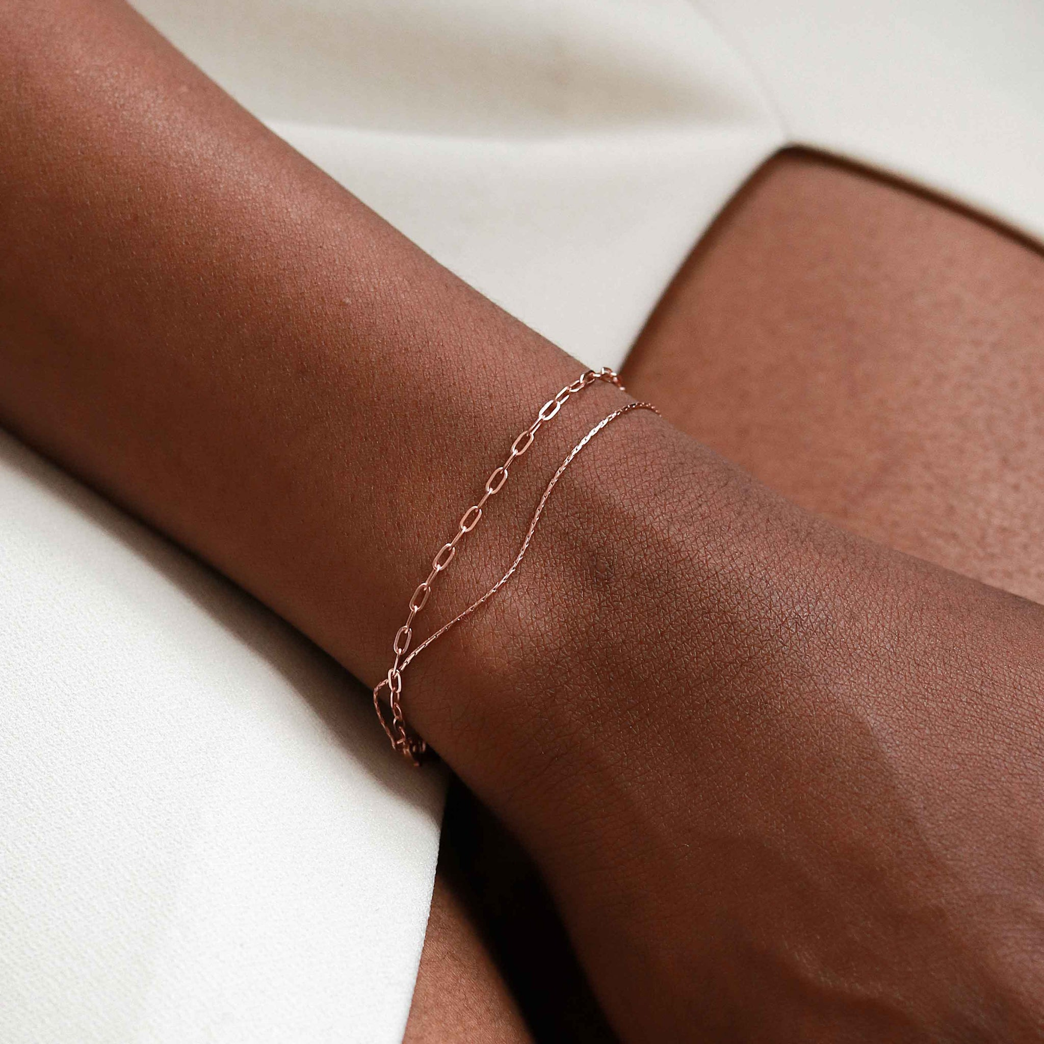 Double Chain Bracelet in Rose Gold worn shot
