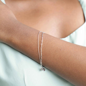 Double Chain Bracelet in Silver worn shot