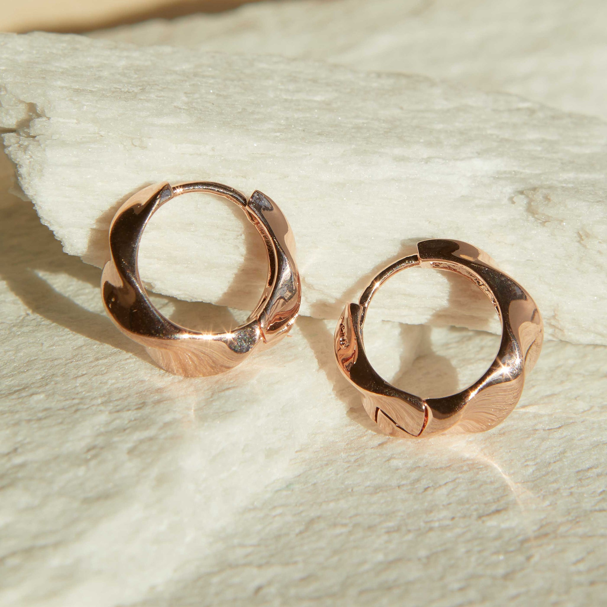 Elemental Hoops in Rose Gold
