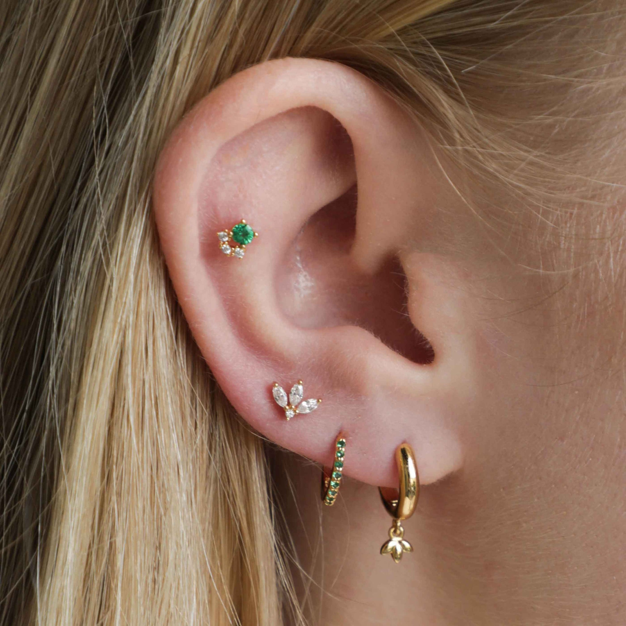 Botanist Pendant Hoops in Gold worn with huggies and barbells