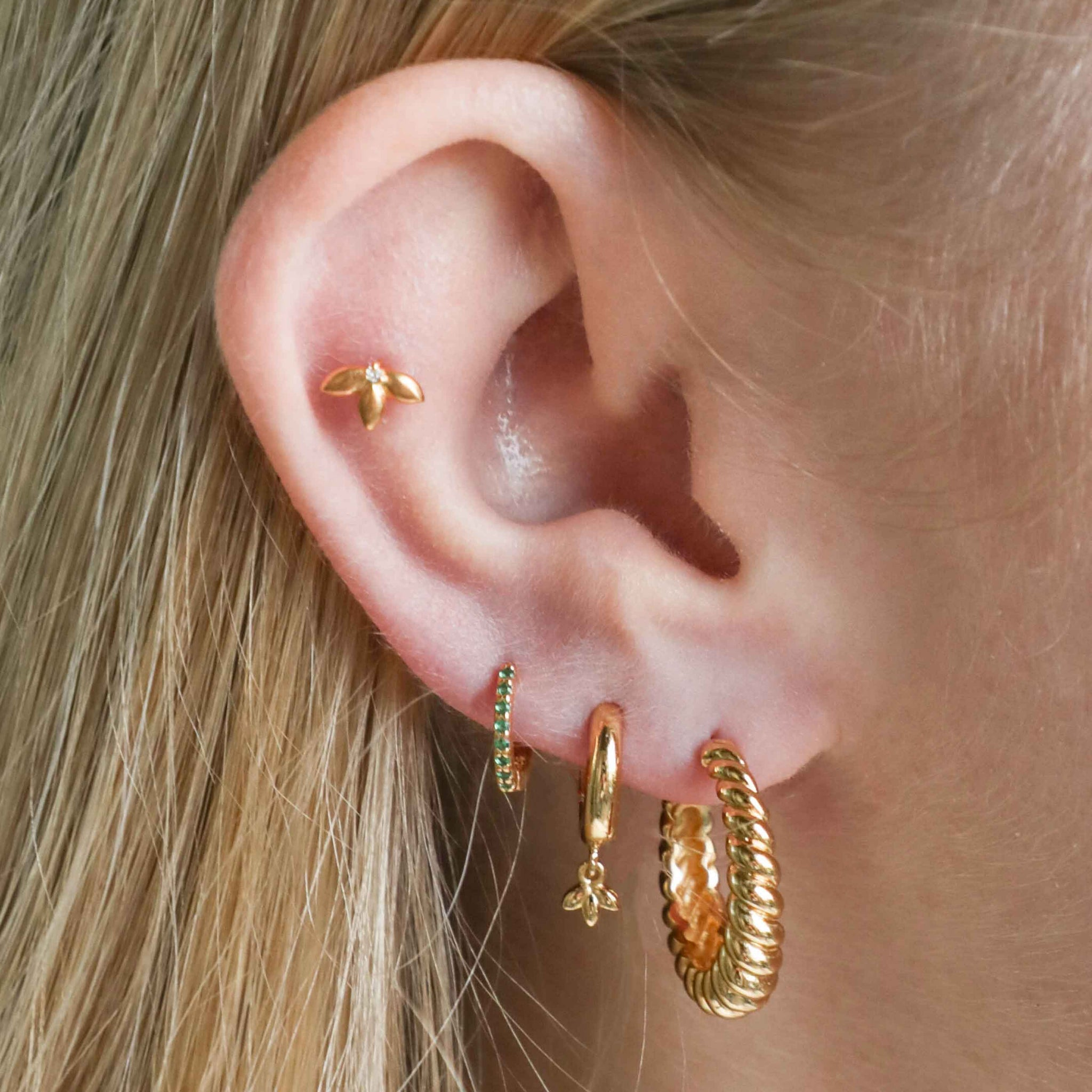 Botanist Barbell in Gold worn in outer conch piercing