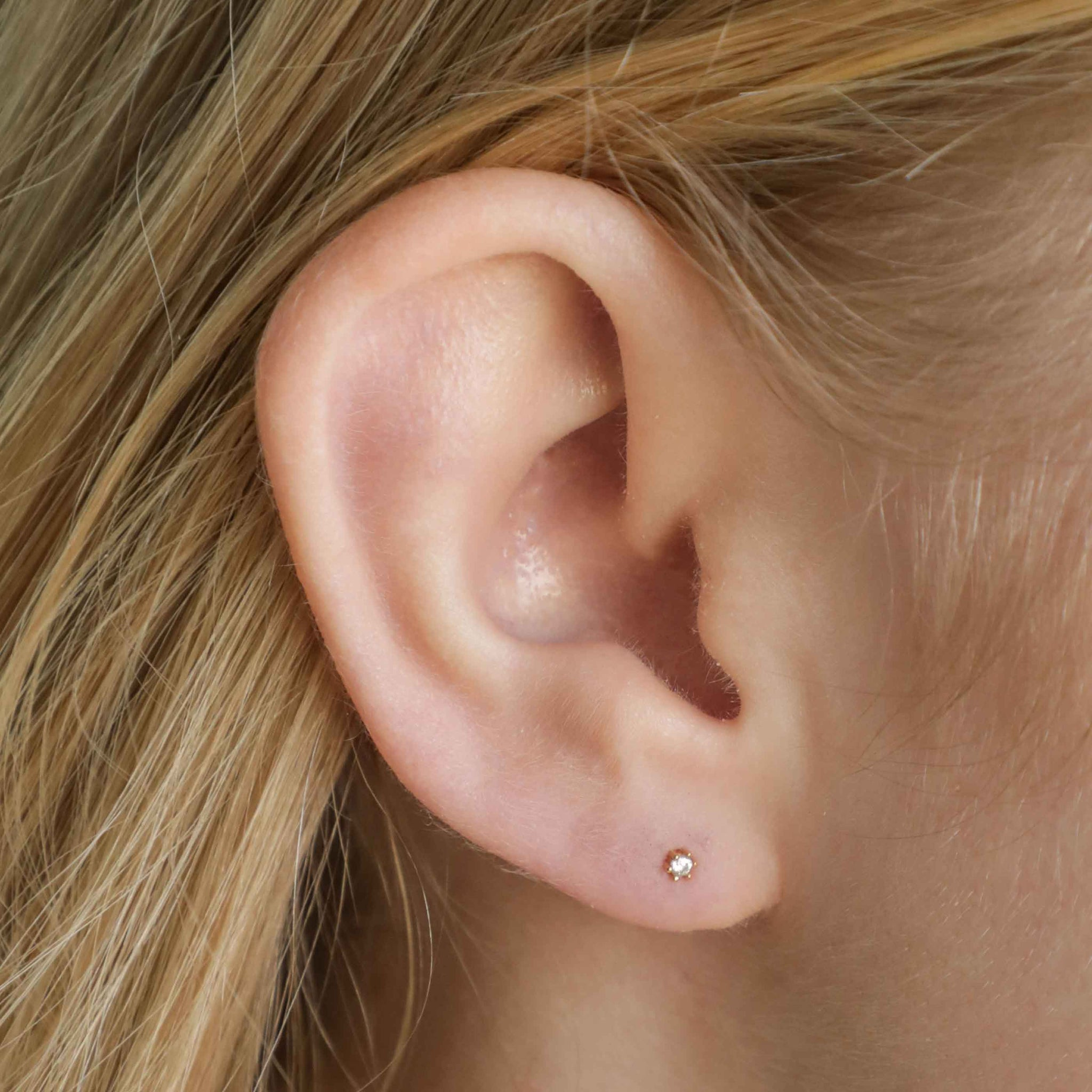 Flora Tiny Barbell in Gold worn in lobe
