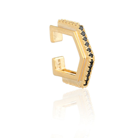 black stone gold block ear cuff
