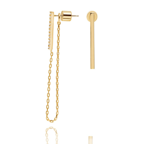 Gold long chain stud earrings