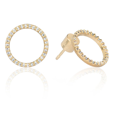 gold circle stud earrings