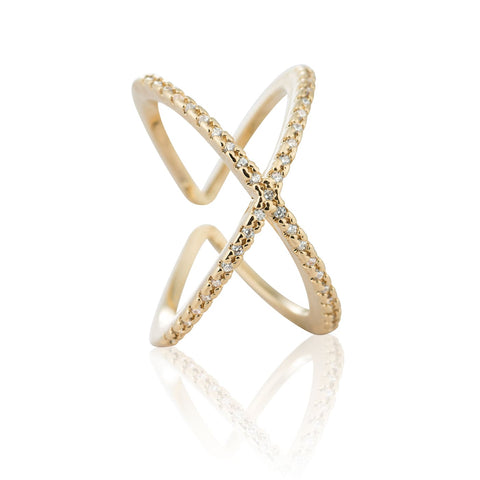 gold cross cocktail ring