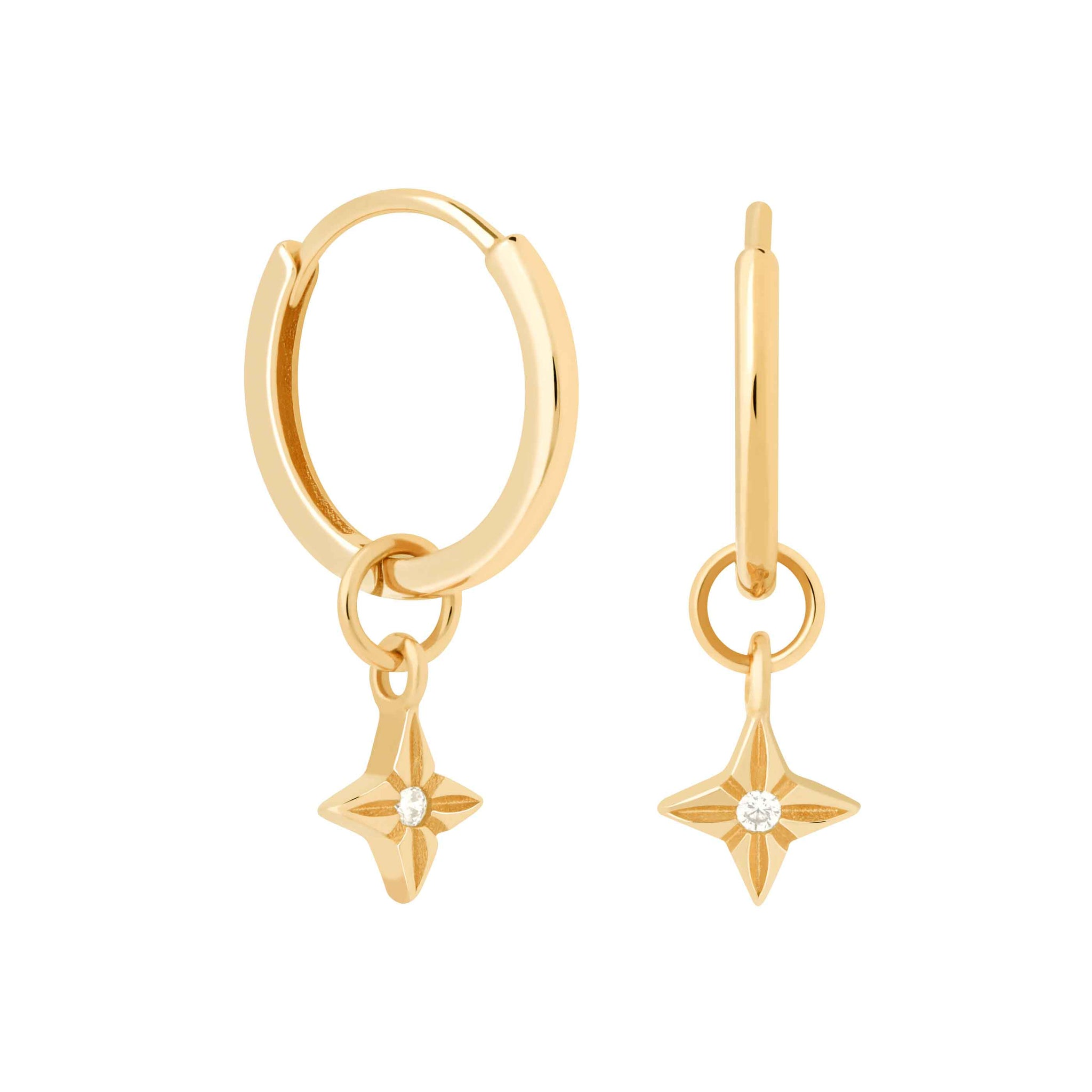 Etched Star Hoops in Gold