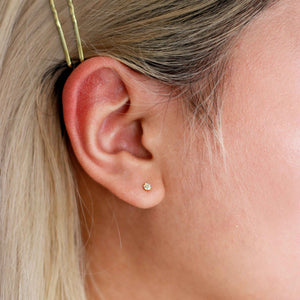 Round Gem Barbell in Gold