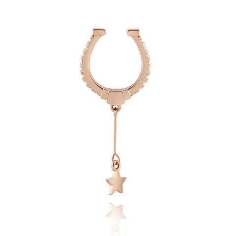 18k rose gold plated brass, horse shoe shaped ear cuff with star charm