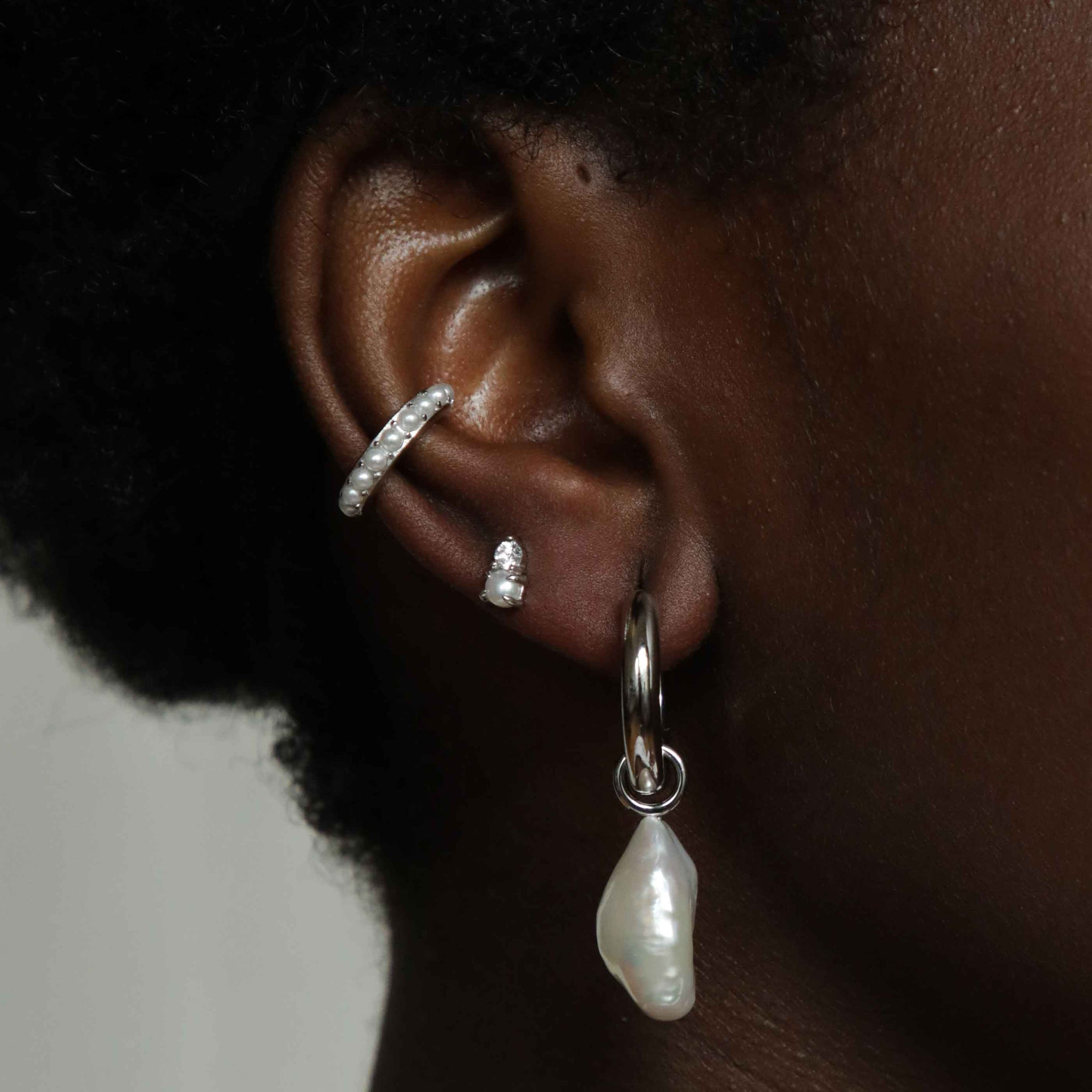 Illume Pearl Hoops in Silver