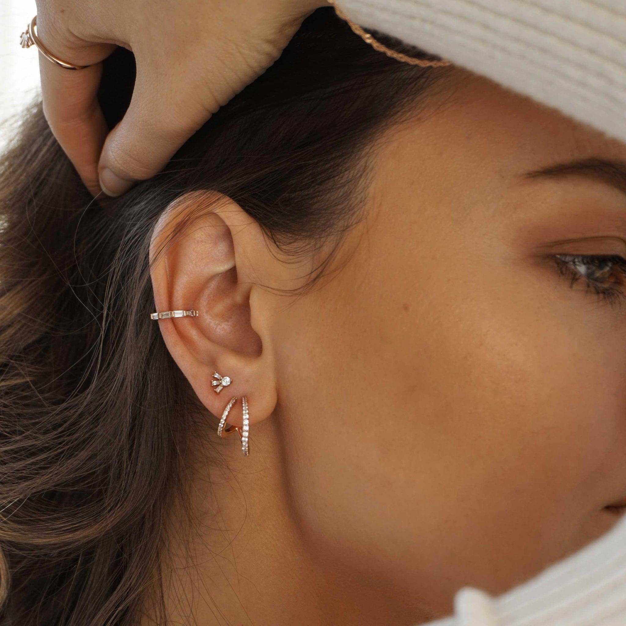 Baguette Crystal Ear Cuff in Rose Gold