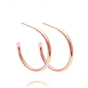 Basic Medium Hoop Earrings in Rose Gold