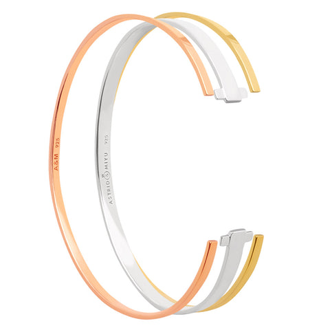 Mixed Crossing Lines Bangle Stack