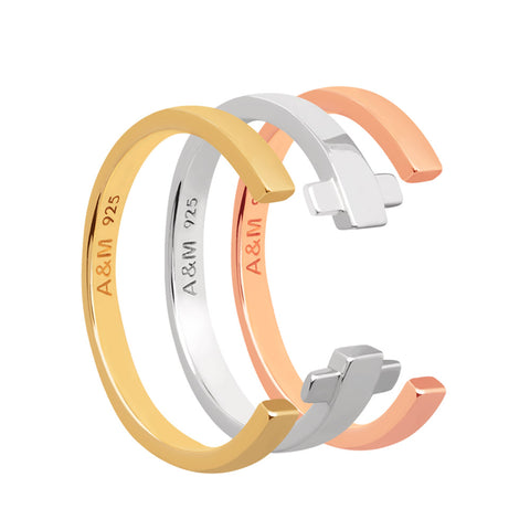 Mixed Plating Crossing Lines Ring Stack