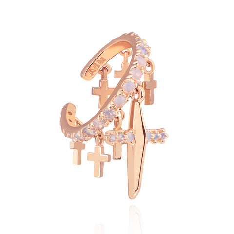 18k rose gold plated brass, statement ear cuff with jewelled opals and cross charms