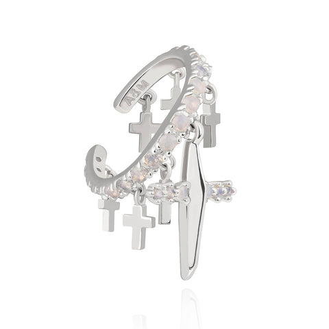 Cross Ear Cuff in Silver