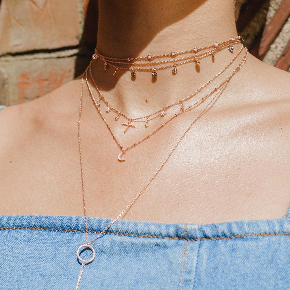 Mystic Moon Necklace in Rose Gold