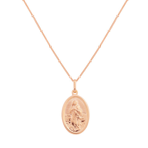 oval medallion necklace rose gold