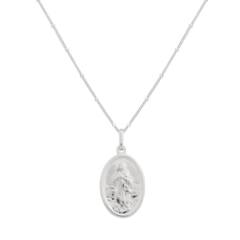 oval medallion necklace silver