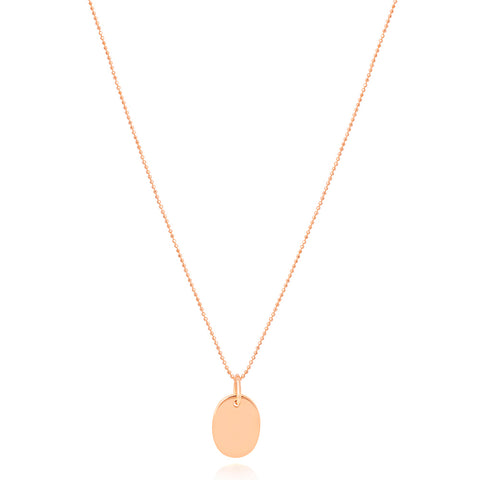 Rose gold oval pendant necklace