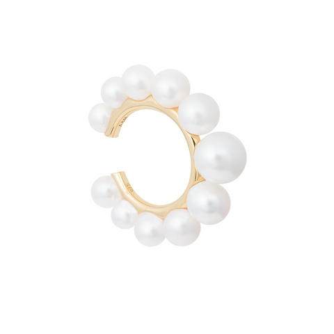 Pearl Statement Ear Cuff in Gold