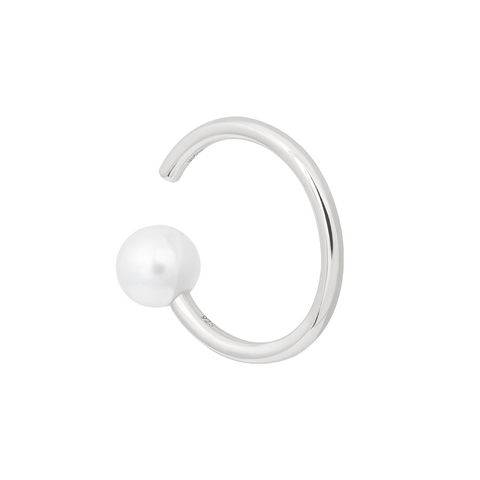Pearl Asymmetrical Ear Cuff in Silver