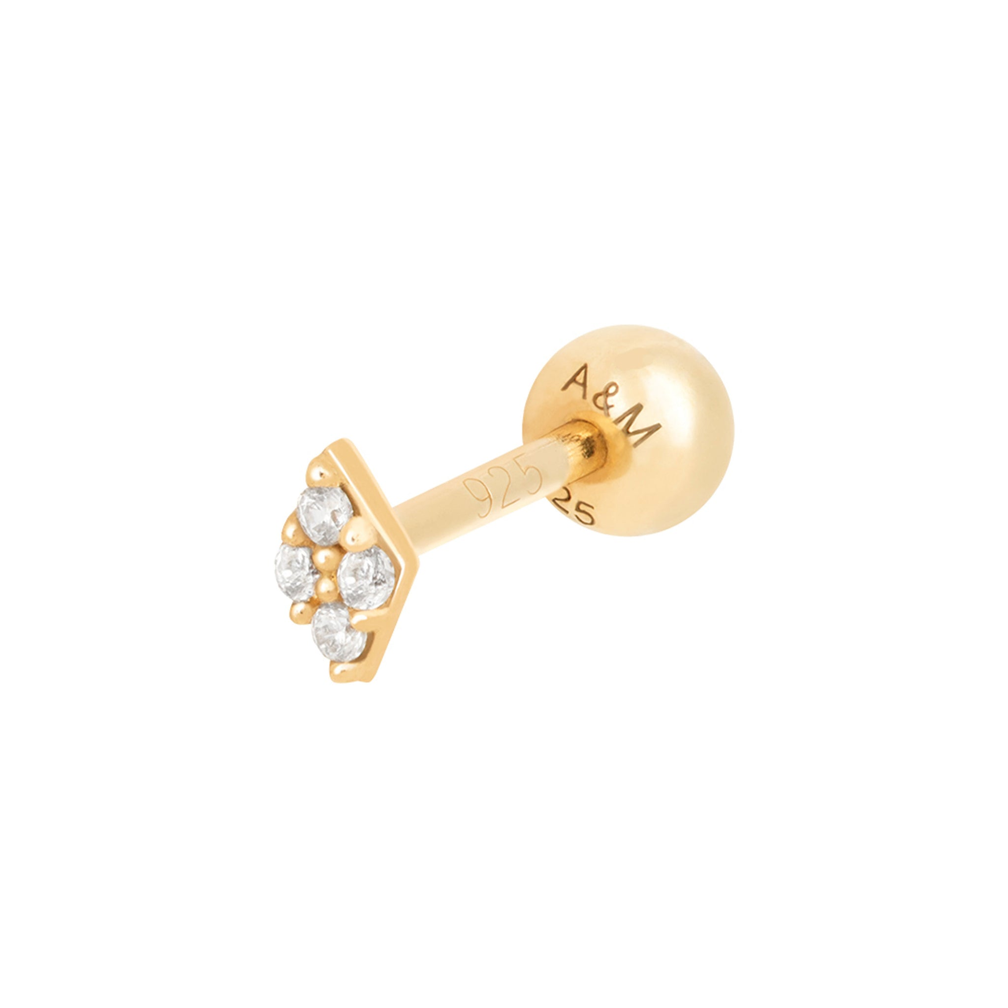 Gem Quartet Barbell in Gold