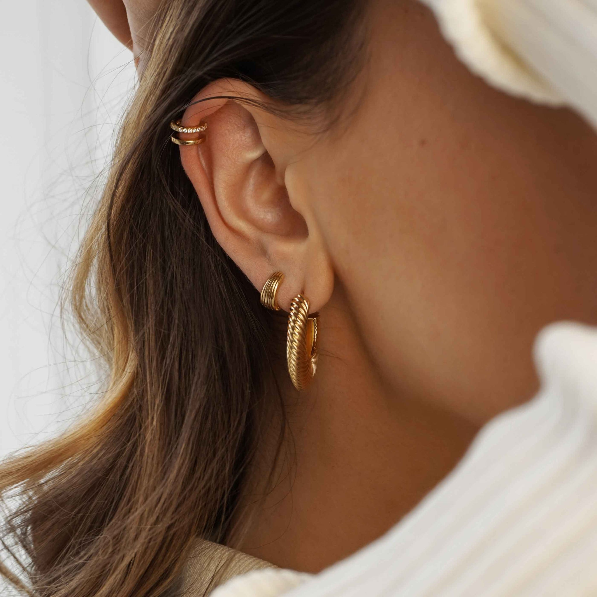 Mini Illusion Crystal Ear Cuff in Gold