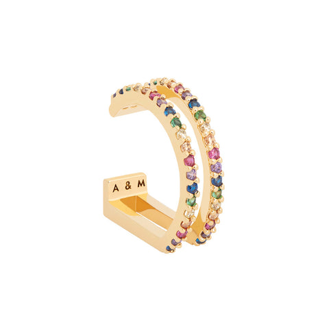 Rainbow Wishbone Ear Cuff in Gold