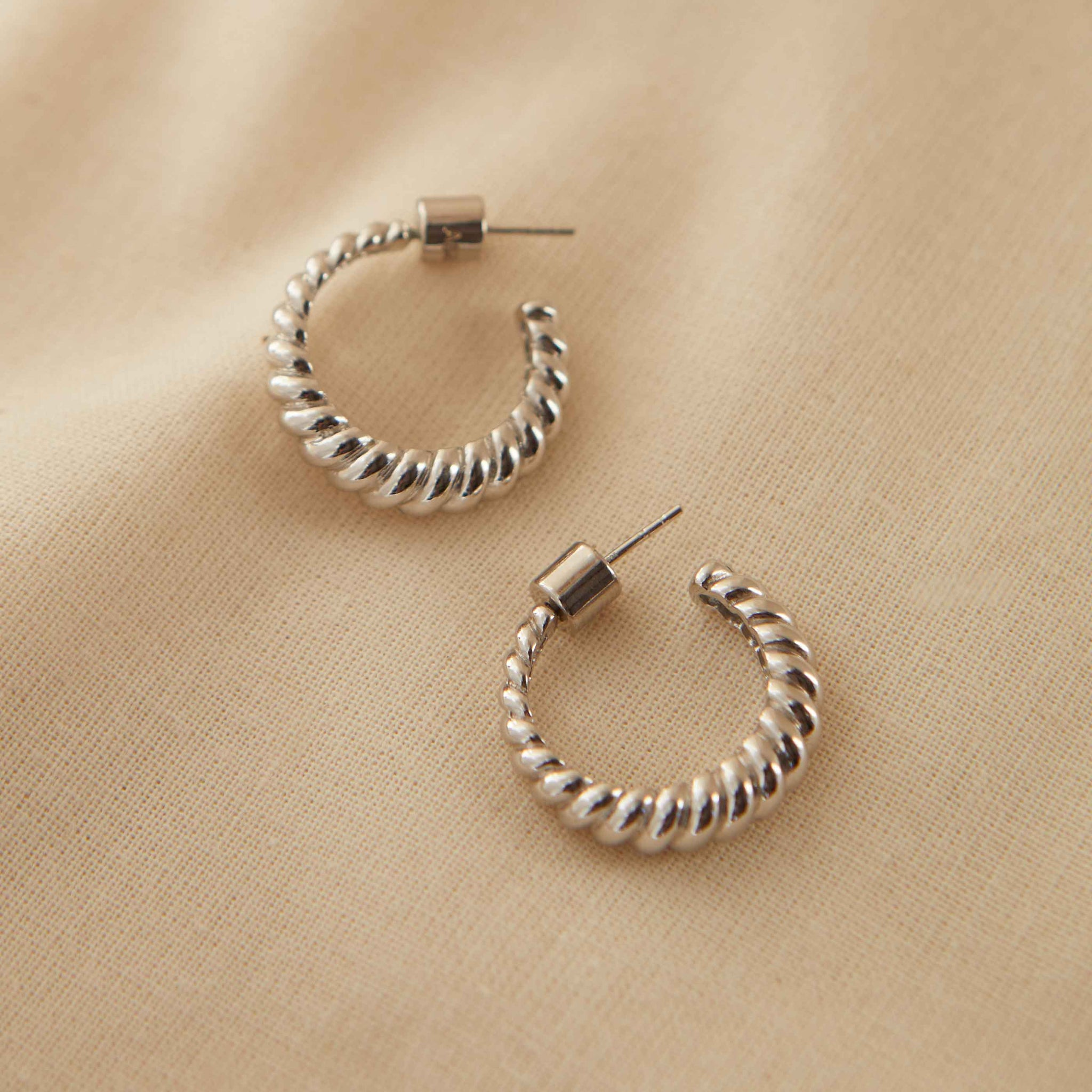 Rope Dome Hoops in Silver