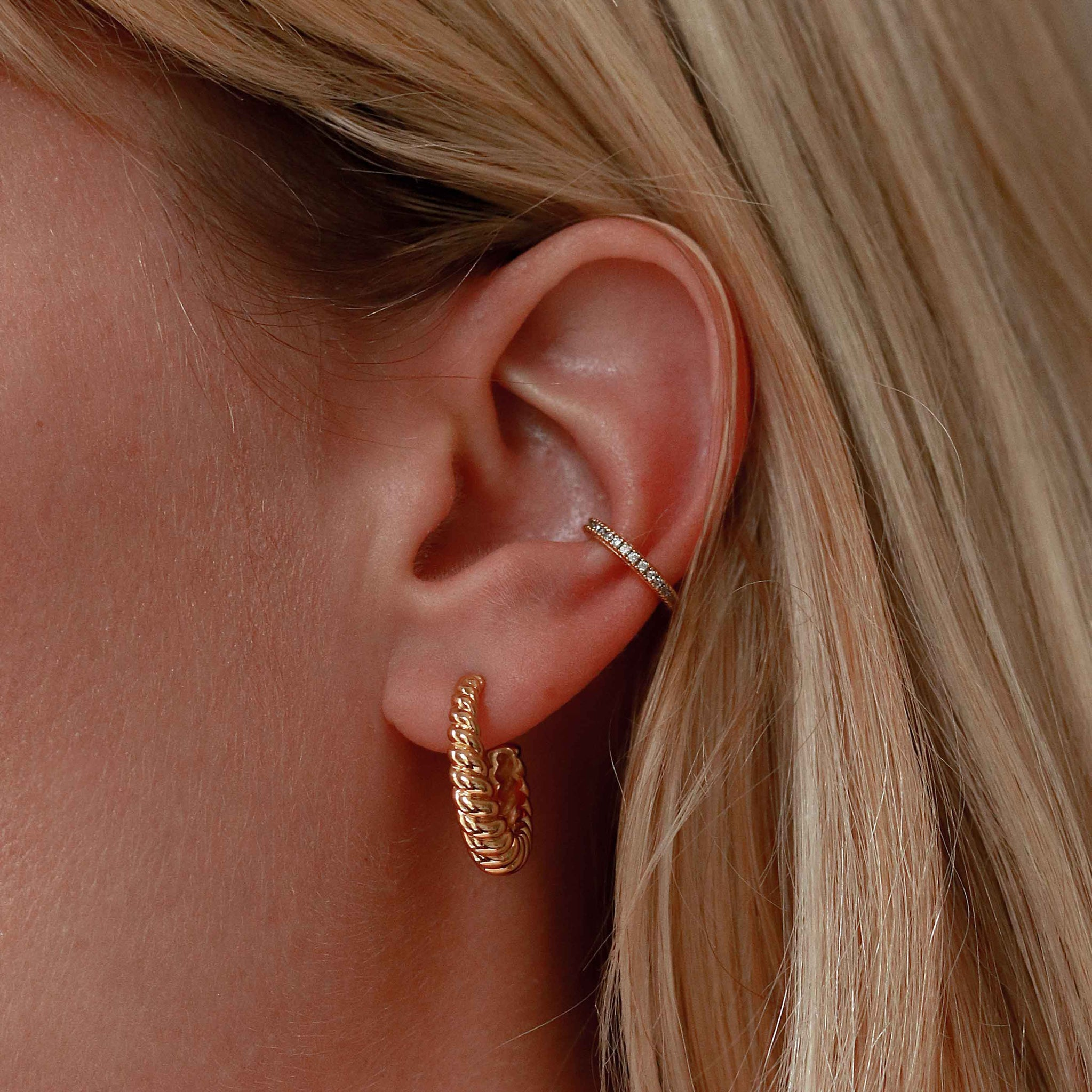Rope Dome Hoops in Gold worn with crystal ear cuff