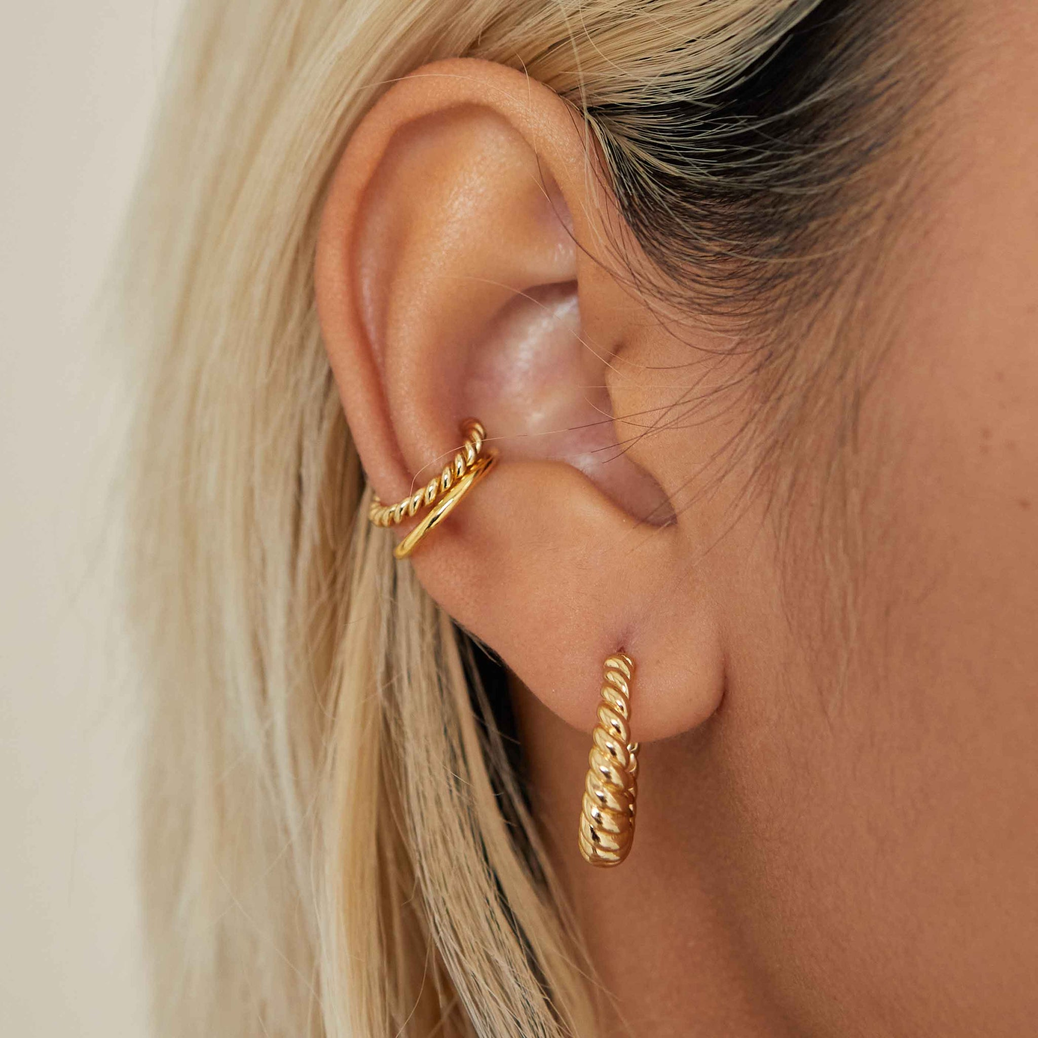 Rope Dome Hoops in Gold