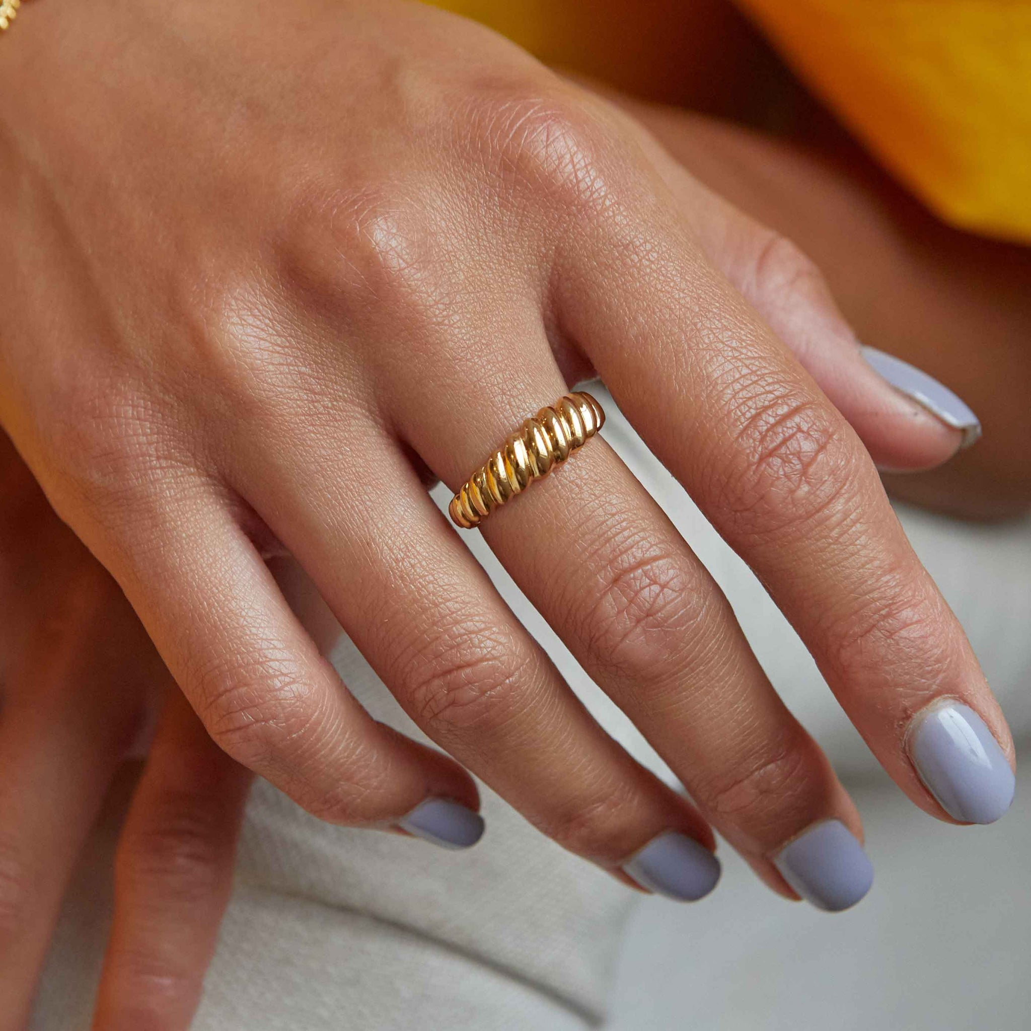 Rope Dome Ring in Gold worn