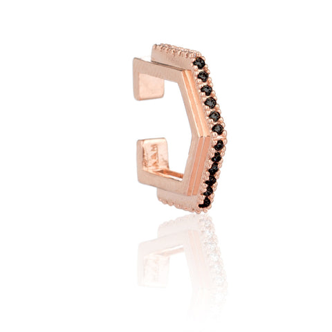 black stone rose gold block ear cuff