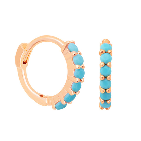 rose gold blue stone huggies