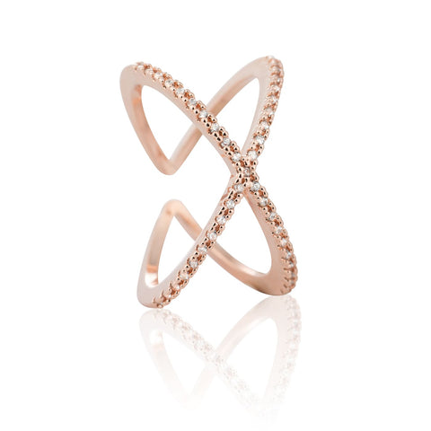 rose gold cross cocktail ring