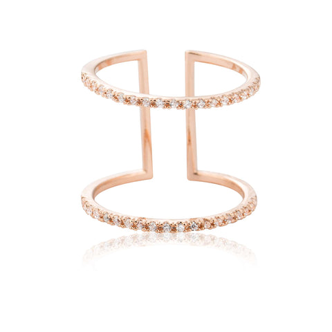 rose gold double bar cocktail ring
