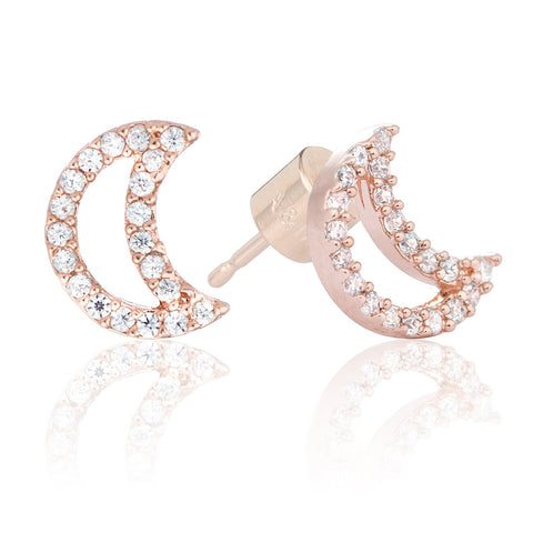 rose gold moon stud earrings